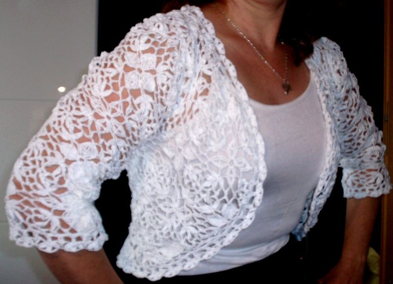 Me / Crochet Cropped Swea Ter Lace Crop Top 3/4 Sleeve Crochet Bolero